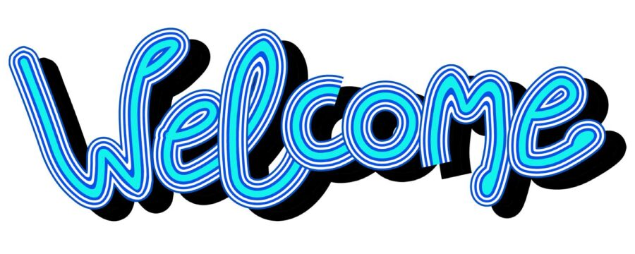 WELCOME in blue letters welcomes new patients to Artistic Dentistry in Tucson, AZ